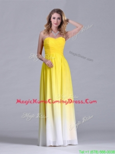 Discount Empire Sweetheart Ruched Long Homecoming Dress in Gradient Color