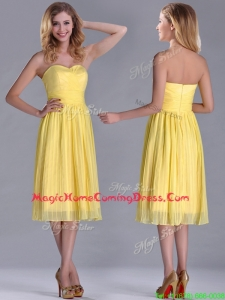 Discount Pleated Yellow Chiffon Homecoming Dress in Tea Length