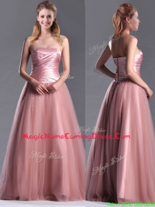 Elegant A Line Tulle Beaded Long Homecoming Dress in Peach