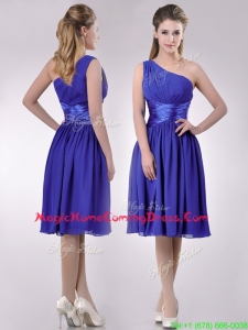 Elegant One Shoulder Chiffon Blue Homecoming Dress with Side Zipper