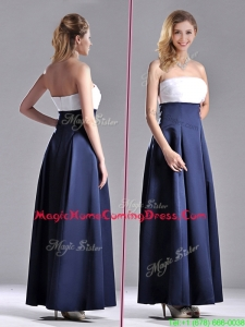 Elegant Strapless Ankle Length Homecoming Dress in Navy Blue and White