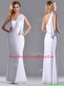 Exclusive Column White Chiffon Backless Homecoming Dress with One Shoulder