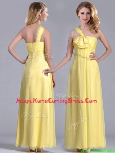 Exclusive One Shoulder Chiffon Yellow Homecoming Dress in Ankle Length