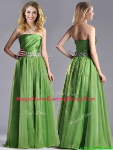 Exclusive Strapless Beaded Decorated Waist Homecoming Dress with Side Zipper