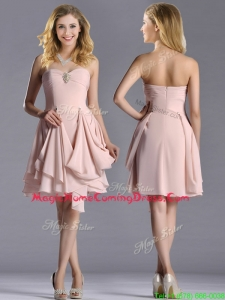 Exclusive Sweetheart Chiffon Beaded Homecoming Dress in Light Pink