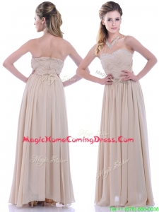 Fashionable Empire Champagne Chiffon Homecoming Dress with Beading and Ruching