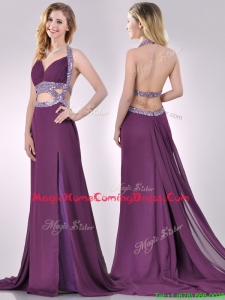 Gorgeous Cut Out Waist Halter Top Homecoming Dress with Brush Train
