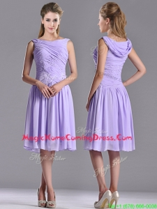 Lovely Empire Chiffon Lavender Homecoming Dress with Beading and Ruching