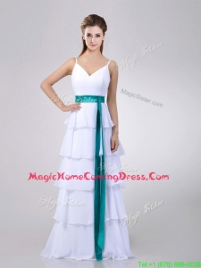 Lovely White Homecoming Dress with Ruffled Layers and Turquoise Belt