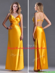Luxurious Beaded Decorated Straps Criss Cross Homecoming Dress in Gold