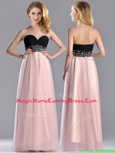 Modern Empire Beaded and Ruched Homecoming Dress in Baby Pink and Black