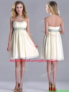 Modern Empire Light Yellow Homecoming Dress with Ruching and Belt