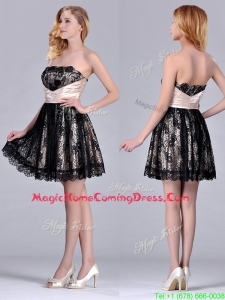 Modern Strapless Black Short Homecoming Dress with Lace and Belt
