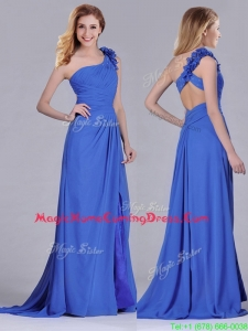 Modest Beaded and Applique Criss Cross Homecoming Dress with Brush Train