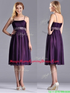 Modest Spaghetti Straps Beaded Chiffon Short Homecoming Dress in Purple