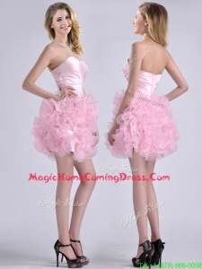 Modest Sweetheart Rolling Flowers Short Homecoming Dress in Baby Pink