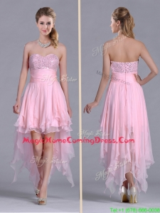 New Arrivals Beaded Bust High Low Chiffon Homecoming Dress in Baby Pink