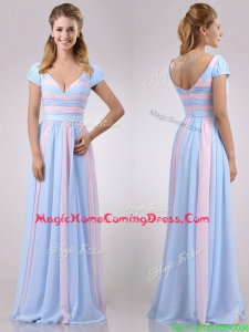 New Deep V Neckline Chiffon Homecoming Dress in Baby Pink and Light Blue