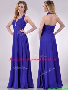 New Style Halter Top Zipper Up Long Homecoming Dress in Blue