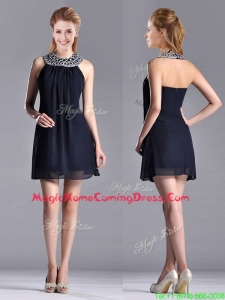 Popular Black Short Homecoming Dress with Beaded Decorated Halter Top