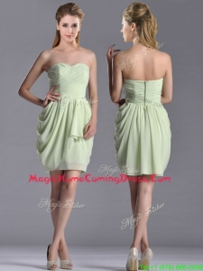 Popular Ruched Decorated Bodice Short Homecoming Dress in Yellow Green