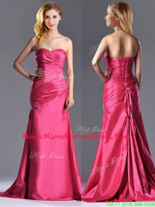 Pretty Beaded and Ruched Coral Red Column Homecoming Dress with Brush Train
