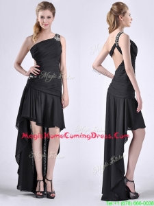 Romantic High Low One Shoulder Black Homecoming Dress with Criss Cross
