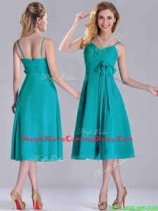 Spaghetti Straps Ruched and Belted Turquoise Homecoming Dress in Tea Length
