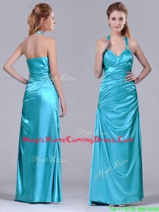 2016 Column Halter Top Elastic Woven Satin Aqua Blue Homecoming Dress with Ruching