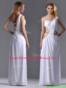 Beautiful Cut Out Waist One Shoulder White Homecoming Dress with Beading