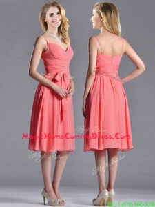 Best Spaghetti Straps Watermelon Homecoming Dress with Ruching and Bowknot