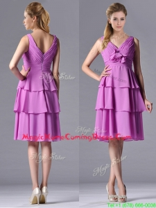 Classical V Neck Lilac Homecoming Dress with Handcrafted Flower and Ruching