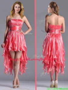 Elegant Strapless High Low Beaded Decorated Waist Homecoming Dress in Coral Red