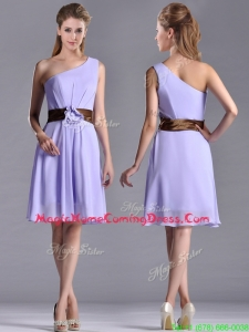 Exclusive One Shoulder Lavender Short Homecoming Dress with Brown Belt