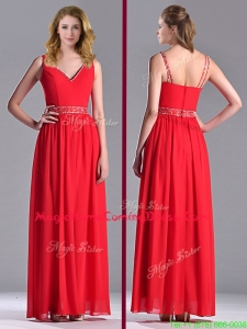 Fashionable V Neck Ankle Length Homecoming Dress with Beaded Decorated Waist