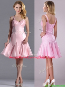 Lovely Beaded Bust Straps Short Homecoming Dress in Baby Pink
