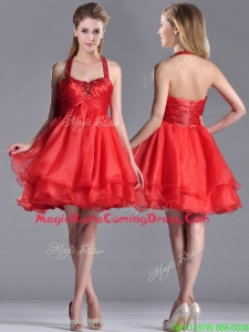 Modern Beaded Decorated Top and Halter Top Homecoming Dress in Organza