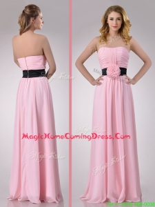 Modern Empire Chiffon Pink Long Homecoming Dress with Hand Crafted Flower