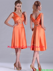 New Arrivals V Neck Beaded Short Homecoming Dress in Orange Red