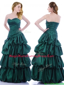 Popular A Line Ruched and Bubble Homecoming Dress in Hunter Green