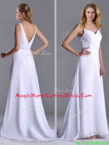 Popular Straps White Chiffon Homecoming Dress with Brush Train
