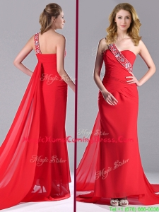 Pretty Column One Shoulder Watteau Train Chiffon Coral Red Homecoming Dress with Beaded