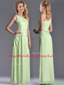 Pretty One Shoulder Side Zipper Yellow Green Homecoming Dress with Ruching