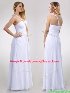 Sexy Empire Chiffon Beaded Side Zipper White Homecoming Dress with One Shoulder