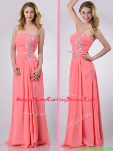 Watermelon Empire Strapless Chiffon Beading Long Homecoming Dress for Graduation