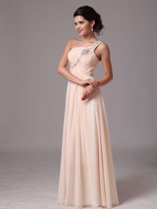 One-Shoulder Champagne Ruched Floor-Length Homecoming Dress with Appliques