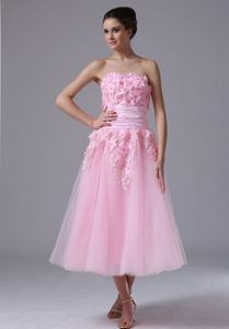 Pink Strapless Tea-Length Homecoming Dress for Junior with Appliques and Flowers