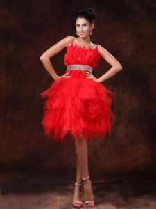 Hot Red Mini-Length Ruffled Strapless Homecoming Cocktail Dress with Beaded Belt