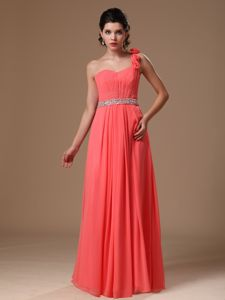 Watermelon One-Shoulder Ruched Homecoming Dress with Flower and Beaded Belt
