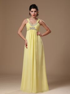Light Yellow Scoop Straps Empire Ruched Appliqued Homecoming Dress for Junior